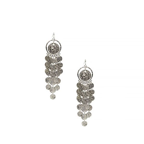 Guess Silver-Tone Coin Fish-Scale Earrings