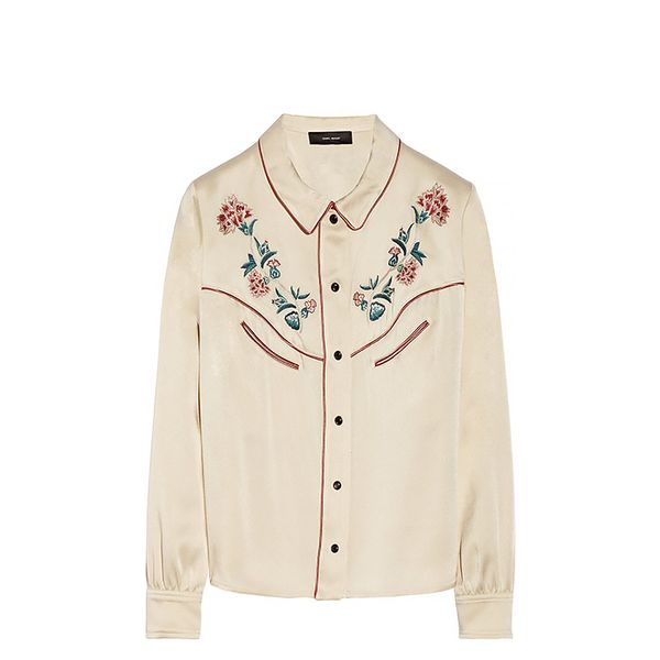 Isabel Marant Lorenzo Embroidered Satin Shirt