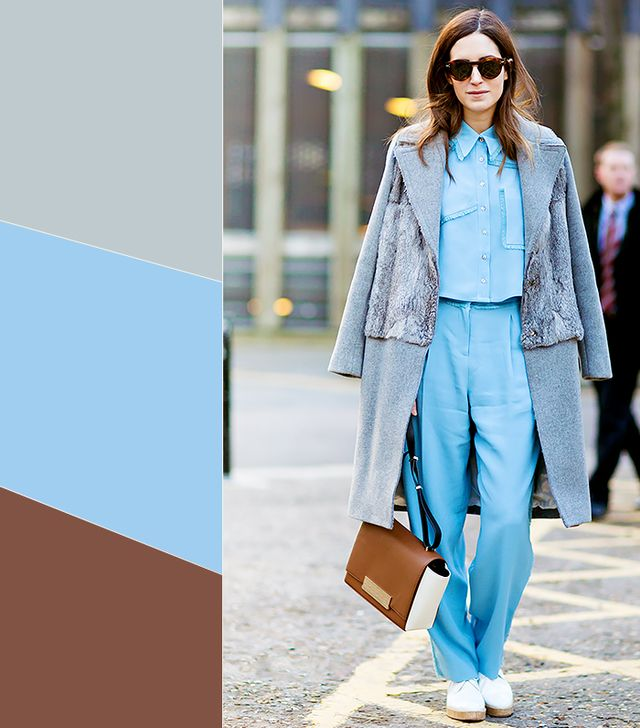 Pale Gray +Light Blue + Chestnut Brown