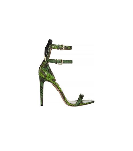 Aquazzura Saharienne Glossed-Elaphe Sandals