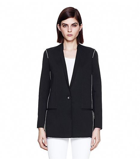 Helmut Lang Pierce Wool Jersey Origami Blazer ($620) in Black