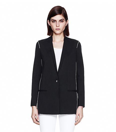Helmut Lang Pierce Wool Jersey Origami Blazer ($620) in Black Try wearing this blazer over a slim denim jacket.