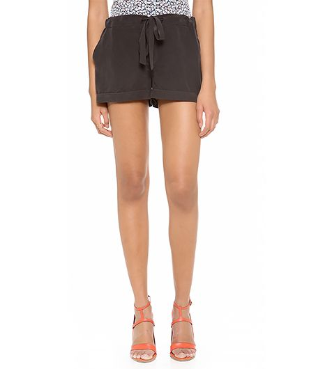 Equipment Lillian Pajama Shorts ($168) in Black  On a chillier day, style these with a pair of opaque tights.