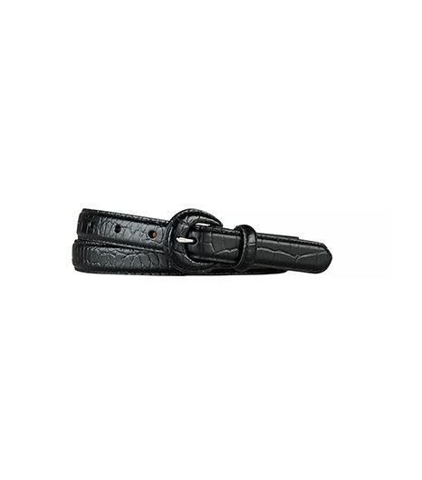Lauren Ralph Lauren Croc-Embossed Skinny Belt ($38) in Black Such a sleek belt!