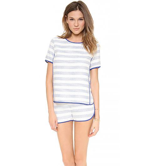 Line & Dot Contrast Binding Top ($121)in Sky Stripe  We love this subtle take on stripes.