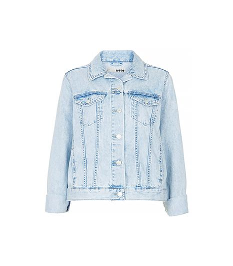 Topshop Moto Fitted Denim Jacket ($90)in Bleach Stone This light shade is perfect for spring.