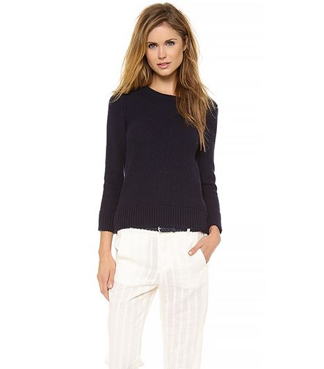 Rag & Bone Rita Sweater ($255) in Navy  A sweater and jean jacket might be our favourite layering combo this spring!