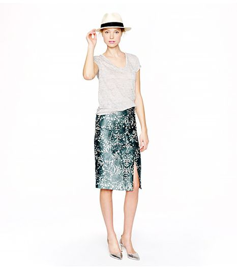 J.Crew Collection Photo Lace Pencil Wrap Skirt ($198)in Willoughby Pine How great would this skirt look with a fitted denim jacket? Very.