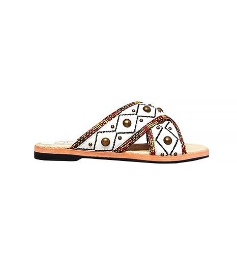 House of Harlow 1960 Open Toe Flat Slide Sandals