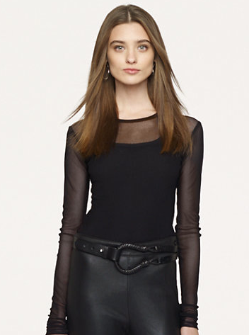 Ralph Lauren Black Label Long-Sleeved Mesh Top