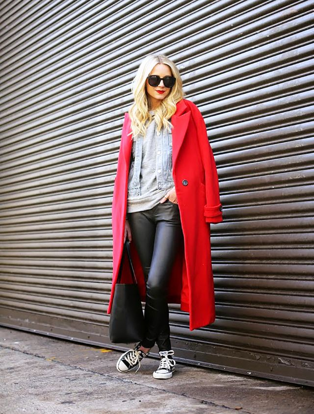 Elevate your go-to sneakers with a pair of leather-like skinny pants and a tailored coat.  On Blair Eadie of Atlantic-Pacific: Mason by Michelle Mason coat; Marc by Marc Jacobs jacket; Robert...
