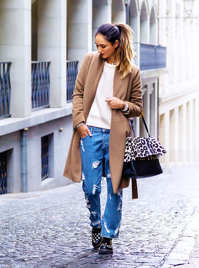 Style lesson learned: Ladylike pieces, such as a camel coat and a leopard bag, look incredible balanced against edgier items like heavily distressed jeans and geometric print creepers.  On Soraya...