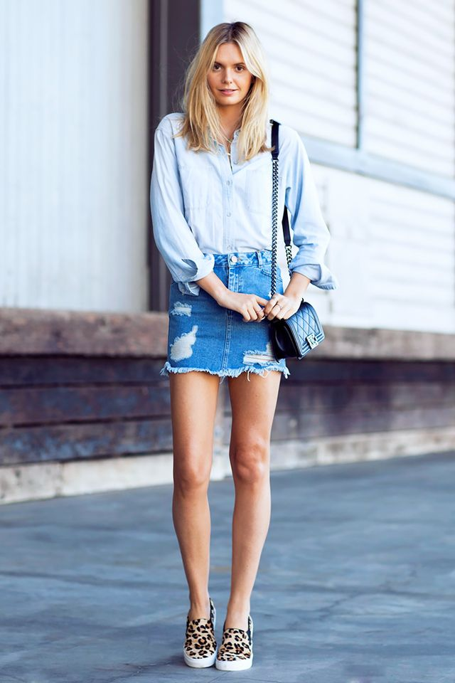 A double-denim look is perfect for your off-duty outfit, plus slip-on sneakers offer a stylish way to run errands in comfort.  On Jessica Stein of Tuula Vintage: ​Madewell Perfect Chambray...