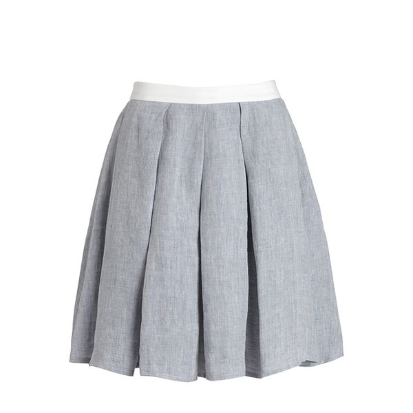 Etienne Deroeux Grey Linen Pleated Alice Skirt