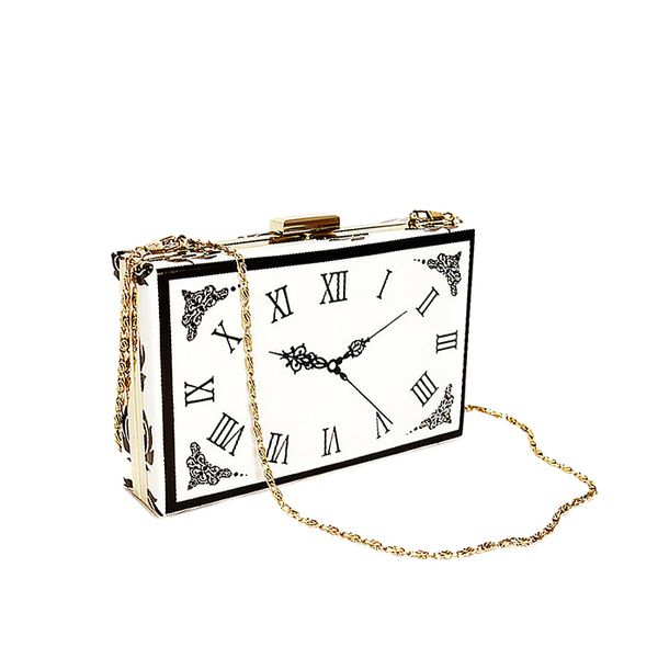 Choies Clock Pattern Bag with Chain Strap
