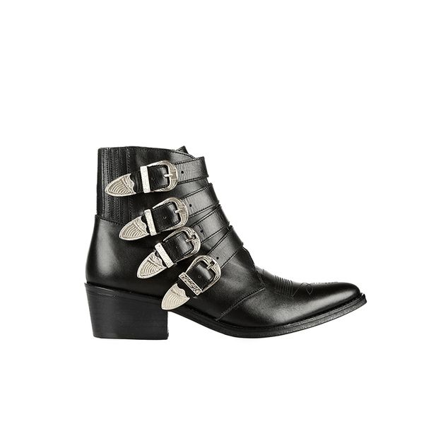 Toga Buckled Leather Ankle Boots
