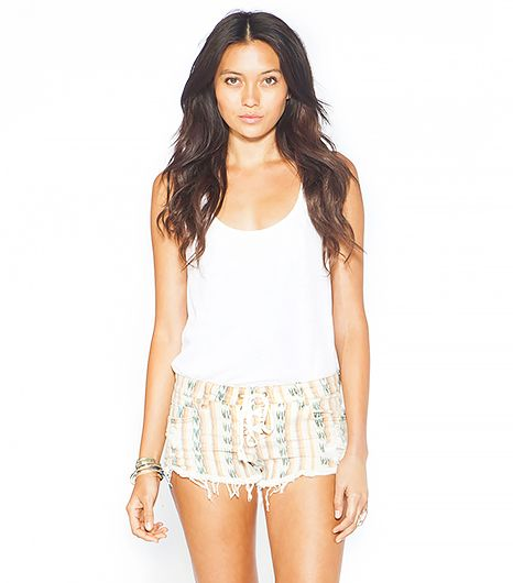Printed denim shorts with a lace-up detail? Yes, please.
