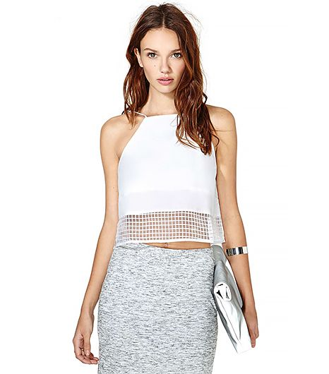 This sheer white crop top reminds us of Rag & Bone's S/S 14 runway in all the best ways.