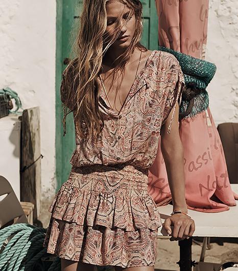 Feminine yet bohemian, this darling lightweight dress is ideal for braving the hot desert sun.  ?Mango Ruffled Skirt Dress ($60)