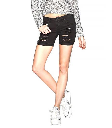 Not a cutoffs girl? Try this equally chic pair of black ripped bermudas.  Volcom Savage Womens Skinny Denim Bermuda Shorts ($45)