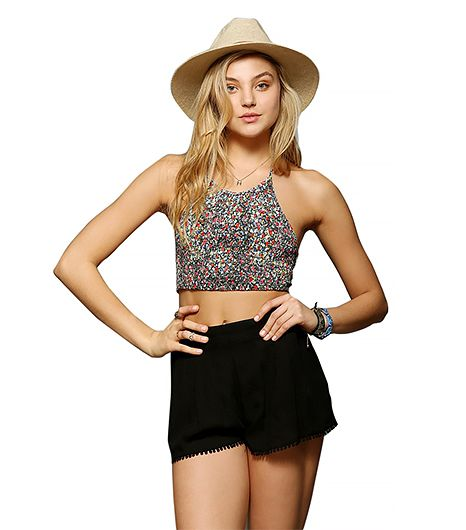 Pins and Neddles Smocked Cropped Halter Top