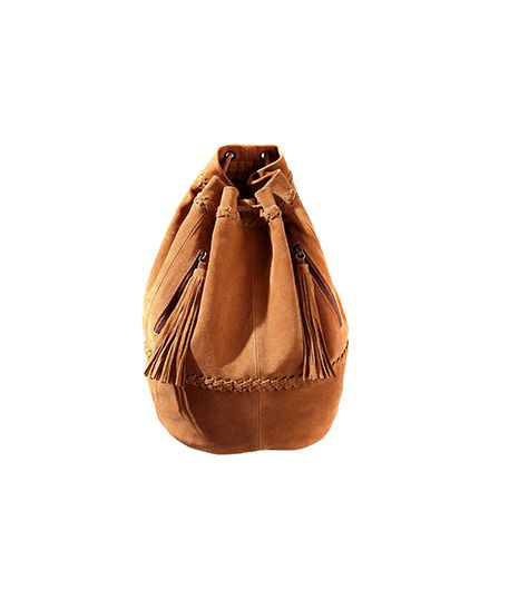 Zara Combined Leather and Suede Bucket Bag