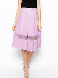 ASOS Midi Skirt With Sheer Hem