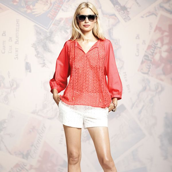 Peter Som for DesigNation Solid Eyelet Tunic