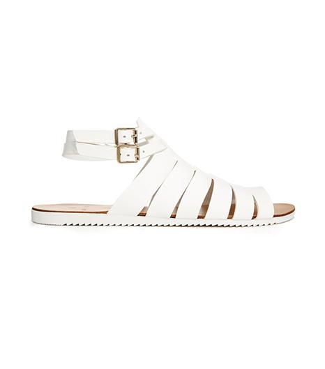 Pieces Kale Leather Flat Sandals