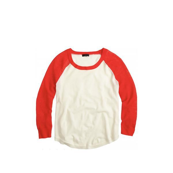 J.Crew Mesh-Sleeve Sweater