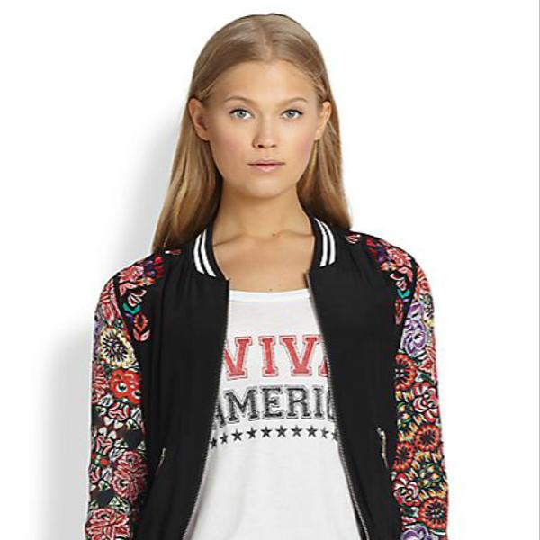 Rebecca Minkoff Alma Printed Silk Bomber Jacket