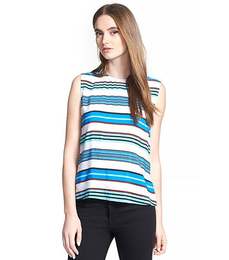 Equipment Reagan Multistripe Silk Blouse
