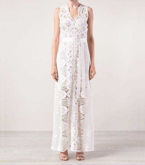 Miguelina Eve Belted Long Lace Dress