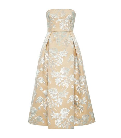 Rochas Floral Bonded Duchesse Satin Dress