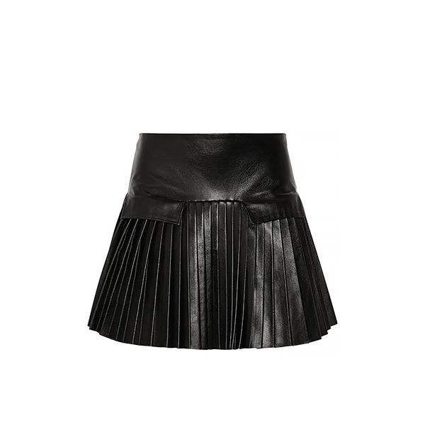 Les Chiffoniers Pleated Leather Mini Skirt