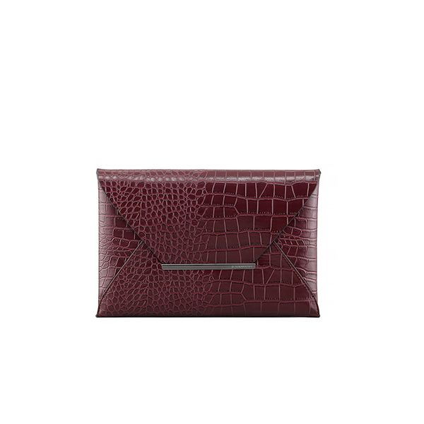 BCBGMAXAZRIA Crocodile-Embossed Envelope Clutch