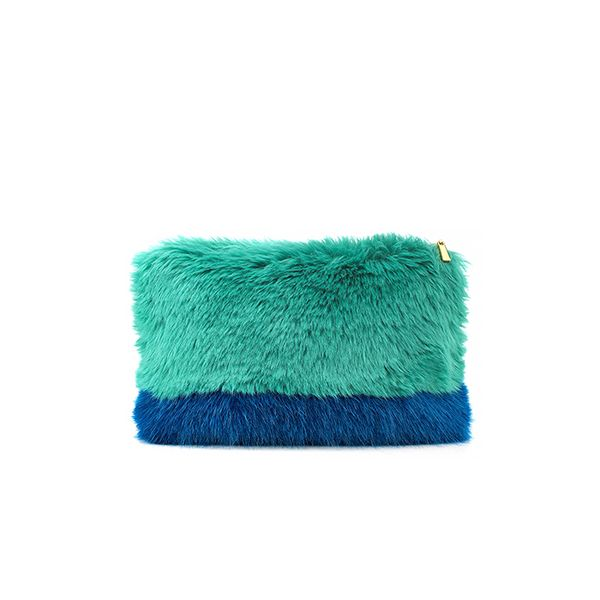 Shrimps Blue Fur Effect Vincent Clutch