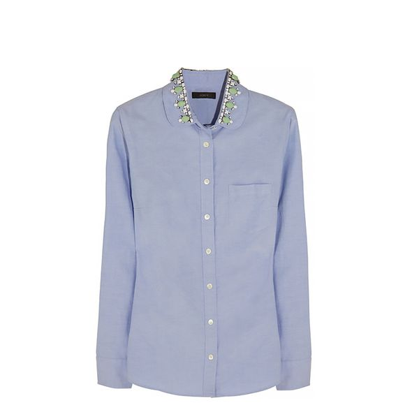 J.Crew Embellished Cotton-Pique Shirt