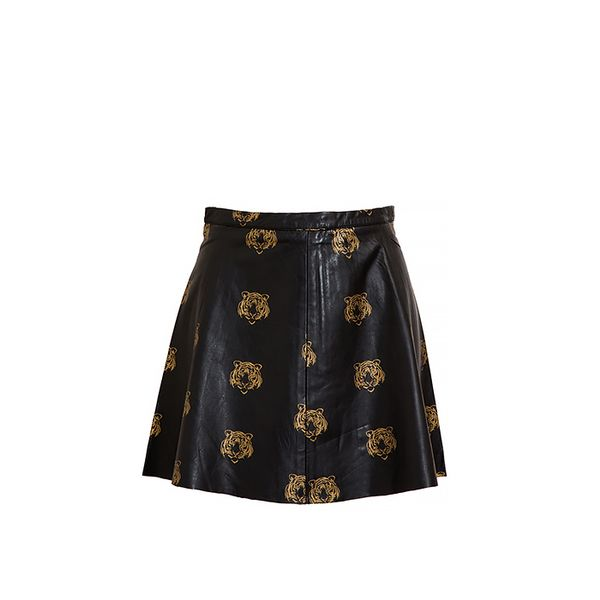 Love Leather Tiger Printed Leather Miniskirt