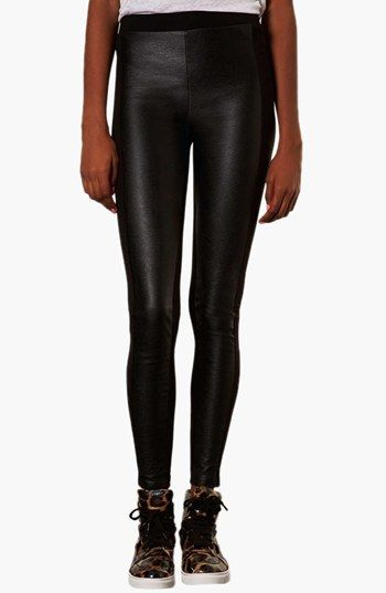 Topshop Faux Leather Front Leggings