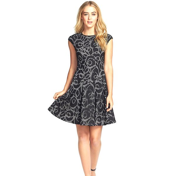 Gabby Skye Laser Cut Fit & Flare Dress