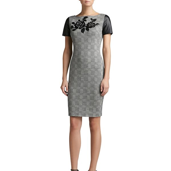 St. John Collection Prince of Wales Plaid Knit Short Sleeve Sheath Dress