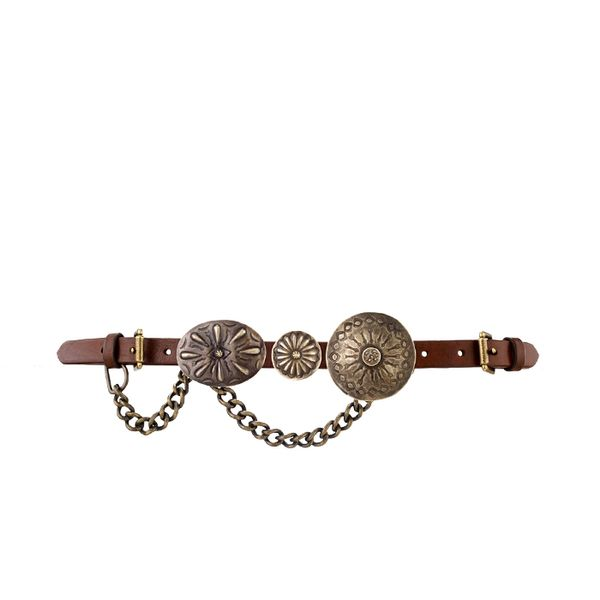 Ralph Lauren Concho-and-Chain Leather Belt