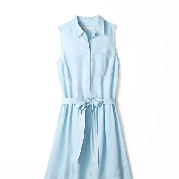 LOFT Sleeveless Chambray Shirt Dress