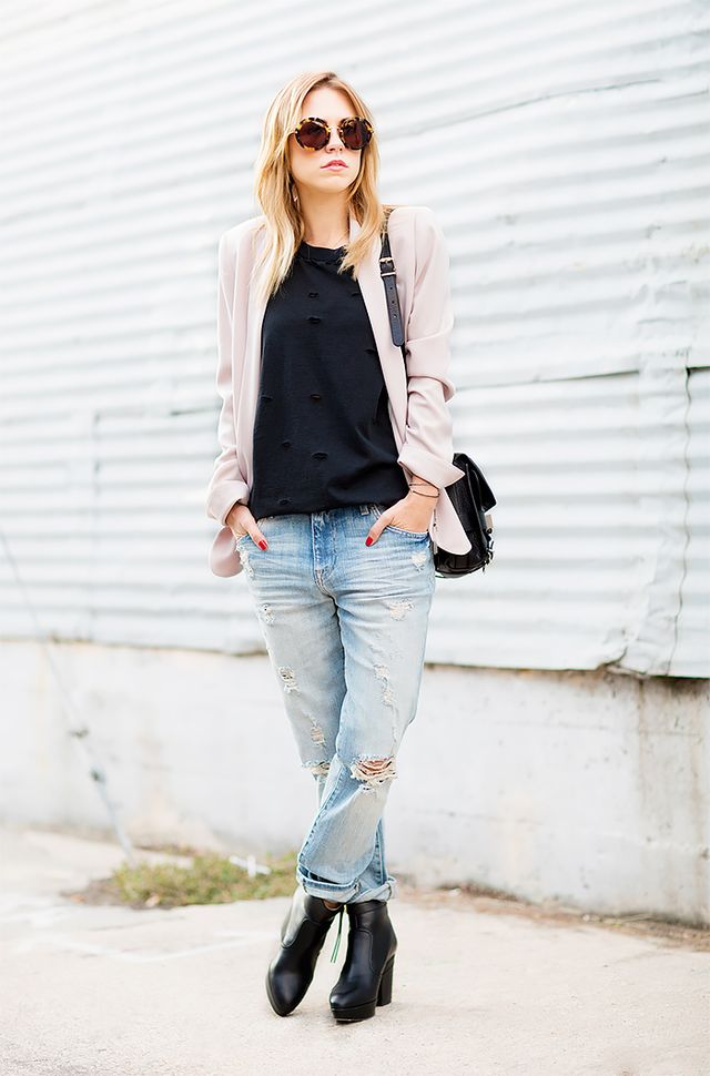 T-Shirt and Pastel Blazer