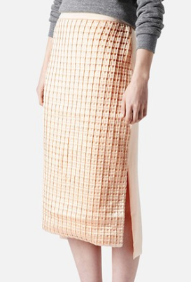 Topshop Kyoto Pleat Midi Length Pencil Skirt