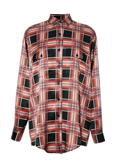 Rodarte Printed Plaid Button Front Shirt