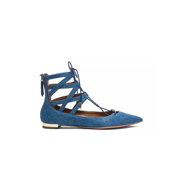 Aquazurra Belgravia Denim Flats ($
