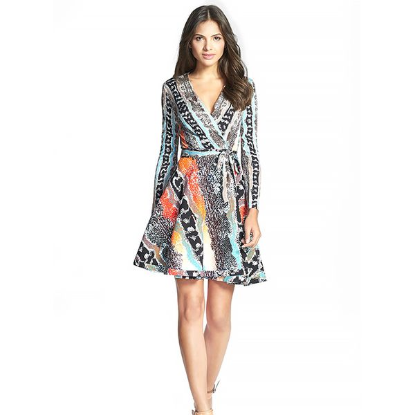 Diane Von Furstenberg Amelia Cotton Blend Wrap Dress