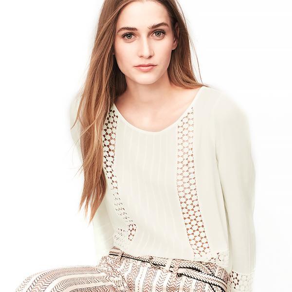 LOFT Crochet Inset Peasant Blouse